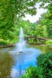 美丽的庭院看法有喷泉的 免版税库存照片