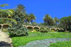 美丽的庭院,公园Guell,巴塞罗那 免版税图库摄影