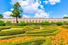美丽的庭院,法国样式联合国科教文组织, Kvetna Zahrada, Kromeriz,捷克 库存照片