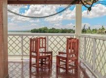 美丽的开放大阳台有海景 图库摄影
