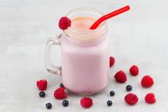 美丽的开胃菜桃红色莓和蓝莓果子smoothi 免版税库存照片