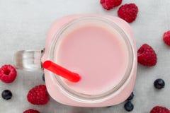 美丽的开胃菜桃红色莓果子圆滑的人或奶昔 库存图片