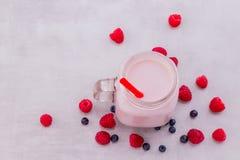美丽的开胃菜桃红色莓果子圆滑的人或奶昔 库存照片