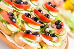 美丽的开胃菜用薄脆饼干和干酪 免版税库存照片