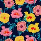 美丽的开花的花卉样式植物的植物无缝的ve 向量例证