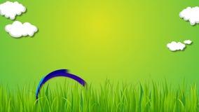 美丽的彩虹和云彩在与一些草的绿色背景行动 皇族释放例证