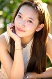 美丽的健康亚裔女孩画象  免版税库存图片