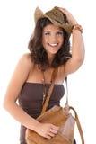 美丽的微笑的夏令时妇女 免版税库存图片