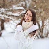 美丽的微笑的妇女冬天纵向 库存图片
