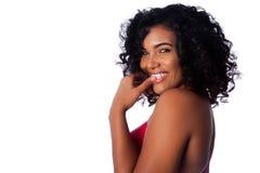 美丽的微笑的妇女的面孔 免版税库存照片
