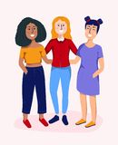 美丽的微笑的少妇 女性友谊和女孩小队概念 网的色的传染媒介例证,印刷品,纺织品, stic 皇族释放例证