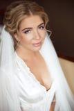 美丽的微笑的新娘结婚照 秀丽时尚女孩po 图库摄影