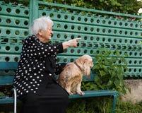 美丽的微笑的老妇人画象有狗的 免版税库存照片