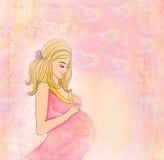 美丽的怀孕的女孩 皇族释放例证