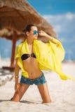 美丽的性感的妇女在一个热带海滩放松 库存图片