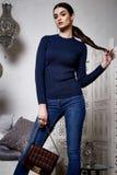 美丽的性感的妇女深色的头发东部样式阿拉伯语摩洛哥 免版税库存照片