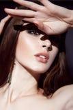 美丽的性感的深色的妇女晚上构成秀丽画象 免版税库存图片