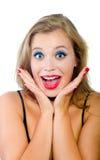 美丽的情感女孩查出 免版税图库摄影
