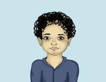 美丽的愉快的小男孩画象  画在一蓝色backgroud 免版税图库摄影