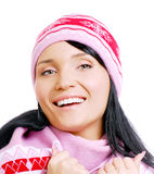 美丽的愉快的帽子微笑的冬天妇女 库存图片