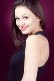 美丽的愉快的性感的微笑的妇女年轻人 免版税图库摄影