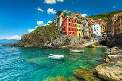 美丽的意想不到的里奥马焦雷村庄,五乡地,利古里亚,意大利,欧洲 免版税图库摄影