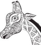 美丽的成人长颈鹿 装饰长颈鹿的手拉的例证 在空白背景的查出的长颈鹿 orna的头 免版税库存图片