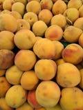 美丽的成熟新鲜的有机黄色桃子 免版税库存图片