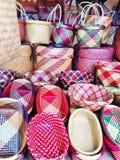 美丽的手工制造传统泰国样式编篮艺品 免版税库存图片