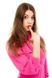 美丽的手指嘴妇女 免版税图库摄影
