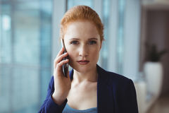 美丽的执行委员画象谈话在手机 库存照片