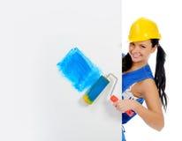 美丽的执行的维修服务妇女年轻人 免版税图库摄影