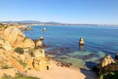 美丽的拉各斯costline,阿尔加威,葡萄牙 图库摄影