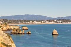 美丽的拉各斯costline,阿尔加威,葡萄牙 库存照片