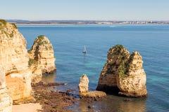 美丽的拉各斯costline,阿尔加威,葡萄牙 库存图片