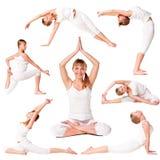 美丽的收集女孩实践的瑜伽 免版税库存图片