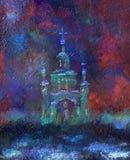 美丽的教会在多雪的冬天夜 皇族释放例证