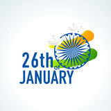 美丽的文本、Ashoka轮子和鸽子为印地安共和国天 免版税库存图片