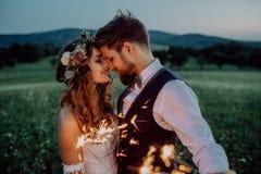 美丽的新娘和新郎与闪烁发光物在草甸 免版税库存照片