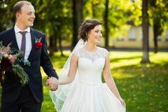 美丽的新娘和新郎在公园在一个晴天 免版税库存照片