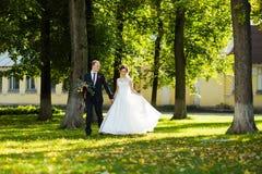 美丽的新娘和新郎在公园在一个晴天 免版税库存图片