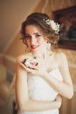 美丽的新娘和礼服画象有时尚面纱的在婚礼早晨 库存图片