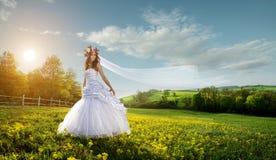 美丽的新娘在田园诗的户外- 免版税库存图片