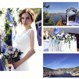 美丽的新娘婚礼照片豪华礼服和婚礼细节的 库存照片