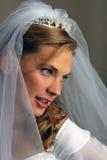 美丽的新娘愉快微笑 免版税图库摄影