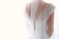 美丽的新娘梦想的抽象和模糊的背景有婚礼礼服的,从后面 免版税库存照片