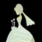 美丽的新娘模式剪影 免版税库存图片