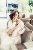 美丽的新娘纵向 礼服片段顺序婚礼 免版税库存图片