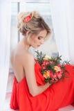 美丽的新娘纵向 礼服片段顺序婚礼 库存照片