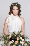 美丽的新娘纵向 礼服片段顺序婚礼 免版税库存照片